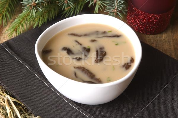 Traditional polish mushroom soup with cream and vegetables Stock photo © joannawnuk