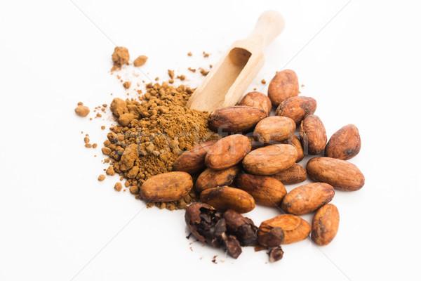 Cacao bonen poeder lepel glas chocolade Stockfoto © joannawnuk