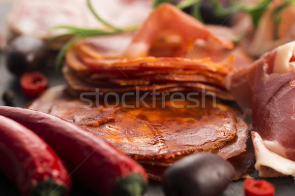 Diferente espanol chorizo rojo placa Foto stock © joannawnuk