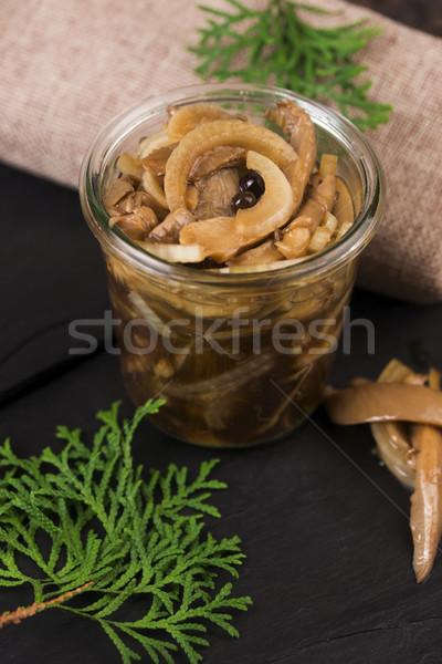 Marynowane miodu grzyb żywności widelec pokładzie Zdjęcia stock © joannawnuk