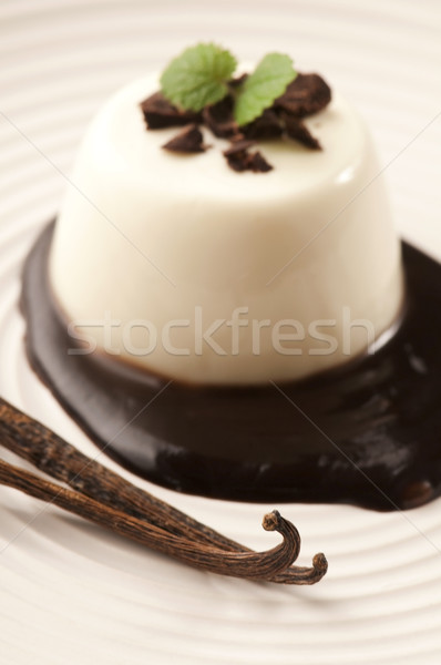 Stock photo: Panna Cotta with chocolate and vanilla beans