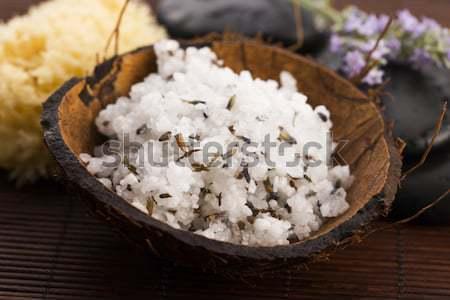 Eigengemaakt huid zeezout olijfolie lavendel Stockfoto © joannawnuk
