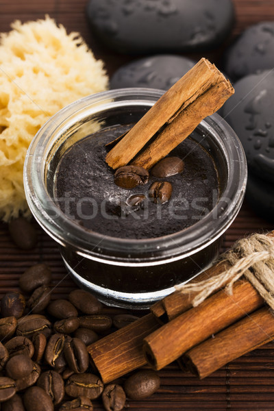 Homemade face and body organic all natural coffee scrub (peeling Stock photo © joannawnuk
