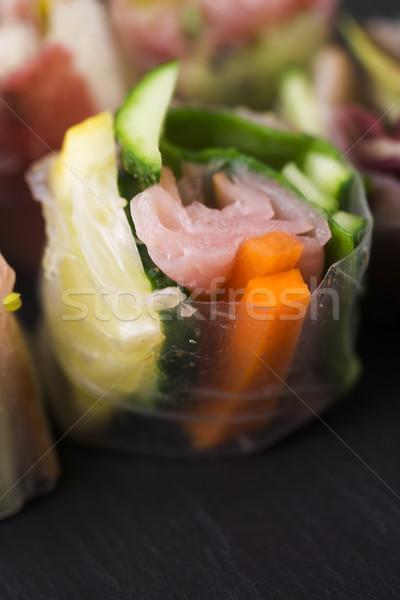 Japonês salada rolar peixe saúde asiático Foto stock © joannawnuk