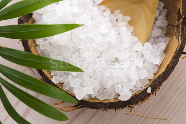 Tengeri só pálmalevél pálma fürdő fürdőkád kanál Stock fotó © joannawnuk