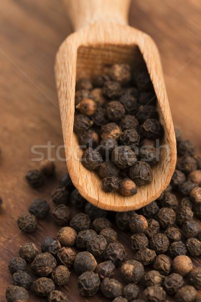 Zwarte peperkorrel witte peper macro zaden Stockfoto © joannawnuk
