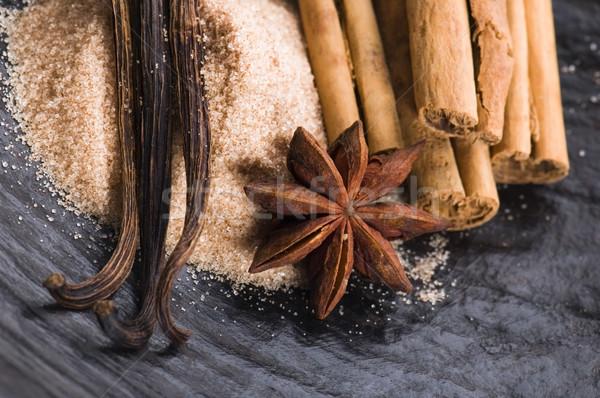 Aromás fűszer barnacukor háttér csillag energia Stock fotó © joannawnuk