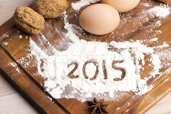 Napis mąka 2015 świetle jaj kuchnia Zdjęcia stock © joannawnuk
