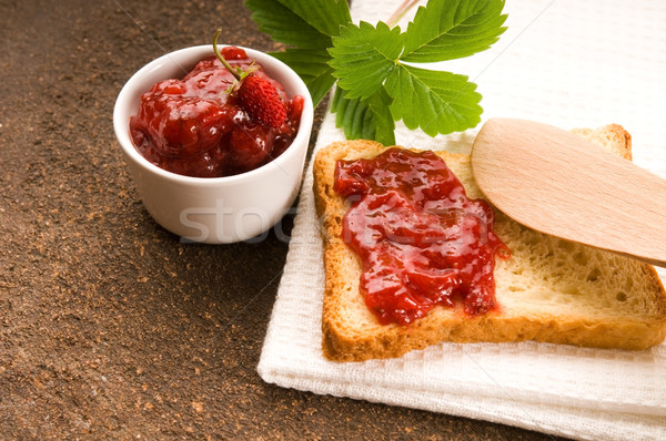 Wild strawberry jam with toast Stock photo © joannawnuk