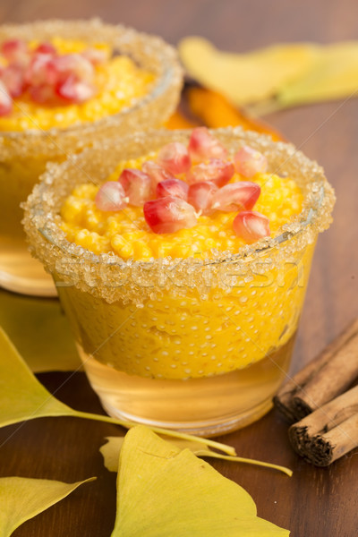 pumpkin pudding with tapioca pearls Stock photo © joannawnuk