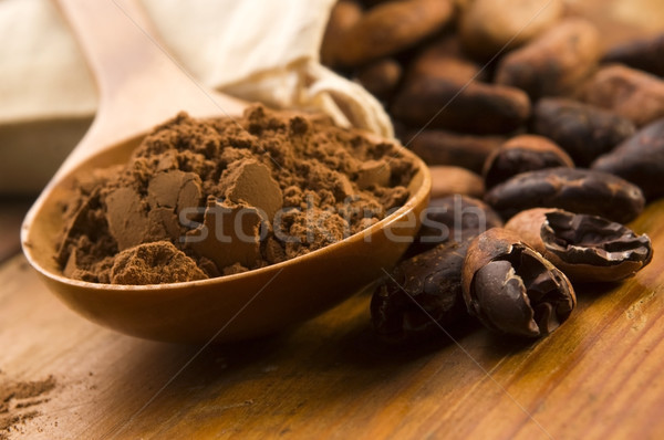 Cocoa (cacao) beans on natural wooden table Stock photo © joannawnuk