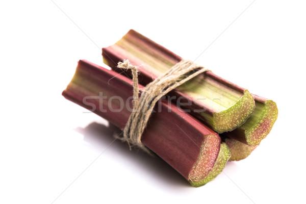 Foto stock: Frescos · ruibarbo · aislado · blanco · frutas