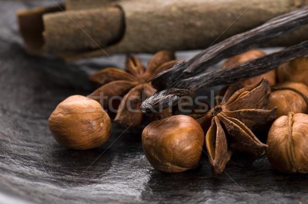 Aromático especias azúcar moreno nueces fondo estrellas Foto stock © joannawnuk