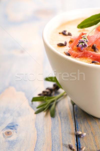 Friss dinnye leves sonka levendula virág Stock fotó © joannawnuk