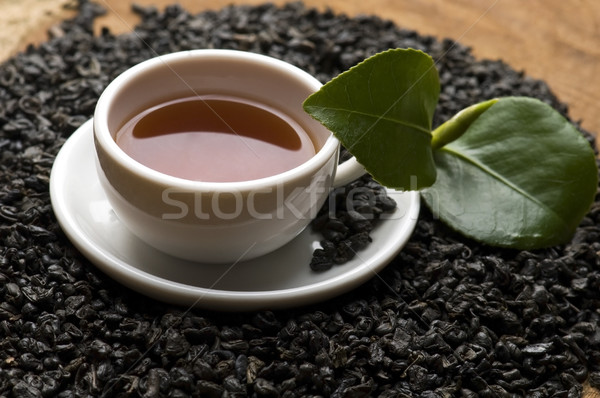 A cup of green tea with freh leaves Stock photo © joannawnuk