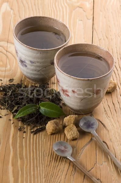 Zöld tea friss ág levél tea arany Stock fotó © joannawnuk