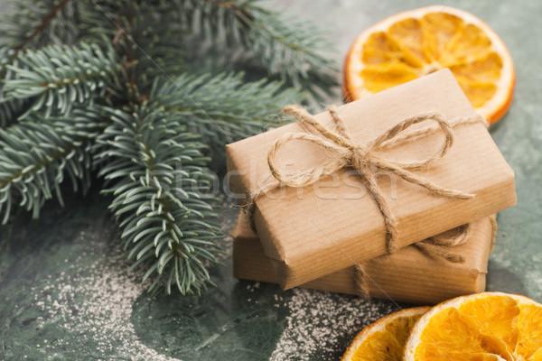 Dwa wakacje prezenty urodziny tle Zdjęcia stock © joannawnuk