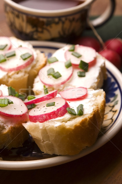 Sandwich with cheese, radish and chive - Healthy Eating  Stock photo © joannawnuk