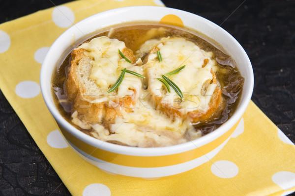 ストックフォト: フランス語 · タマネギ · スープ · 材料 · 食品 · 木材