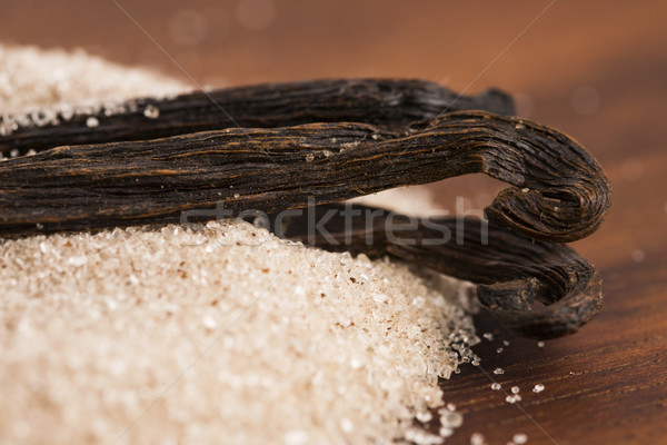 バニラ 砂糖 豆 食品 木材 スプーン ストックフォト © joannawnuk