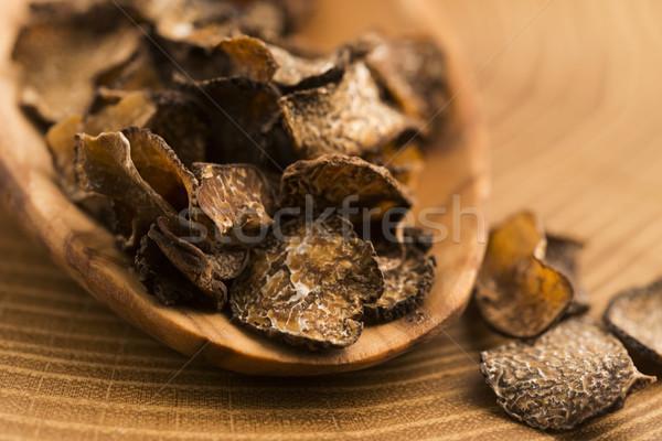 Zwarte champignon plantaardige voedsel groenten Stockfoto © joannawnuk