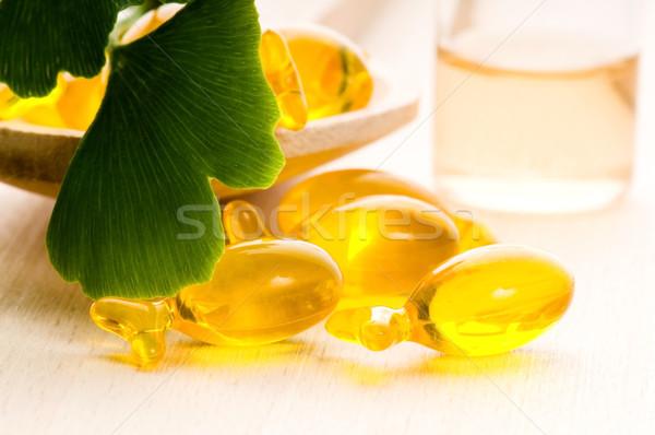 ginko biloba essential oil with fresh leaves - beauty treatment  Stock photo © joannawnuk