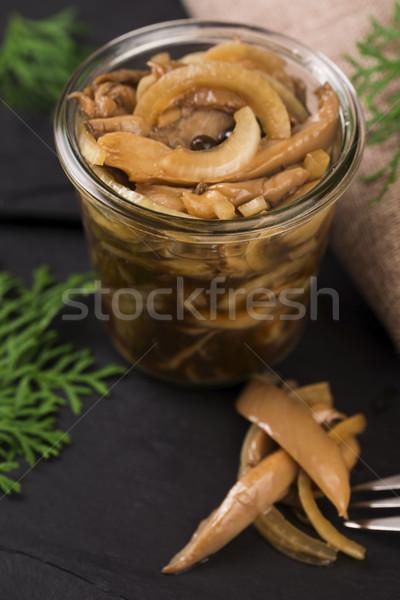 Marinado mel fungo comida garfo conselho Foto stock © joannawnuk