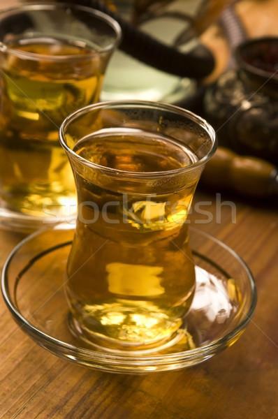 Beker turks thee hookah geserveerd traditioneel Stockfoto © joannawnuk