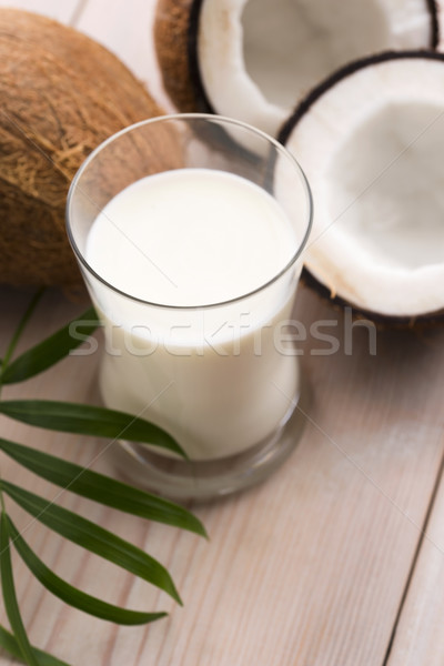 coconut fruit with coco milk Stock photo © joannawnuk