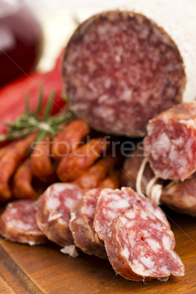 Different sausages and salami Stock photo © joannawnuk