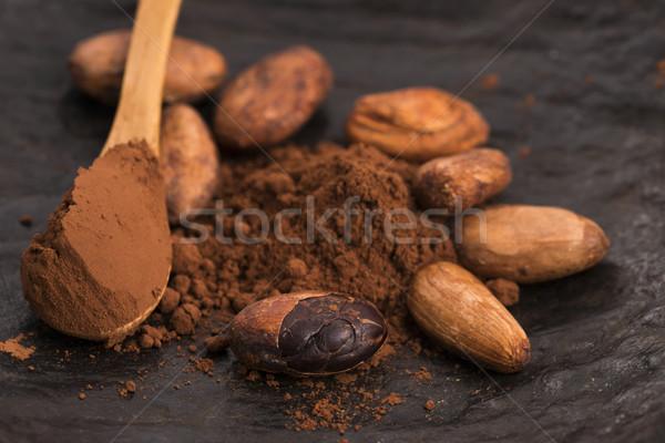 Cacao fagioli polvere cucchiaio alimentare impianto Foto d'archivio © joannawnuk
