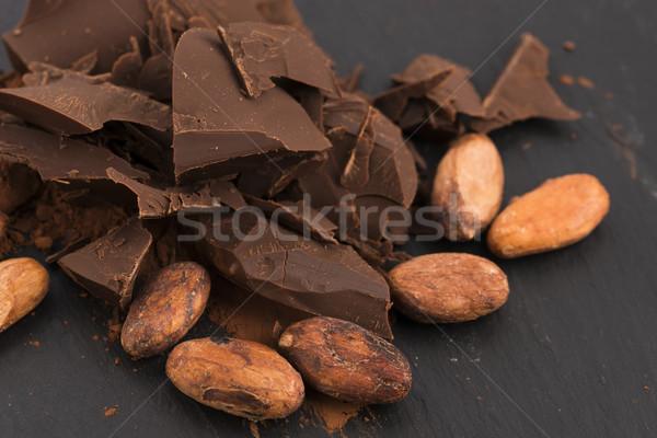 Gehakt chocolade cacao achtergrond bar witte Stockfoto © joannawnuk