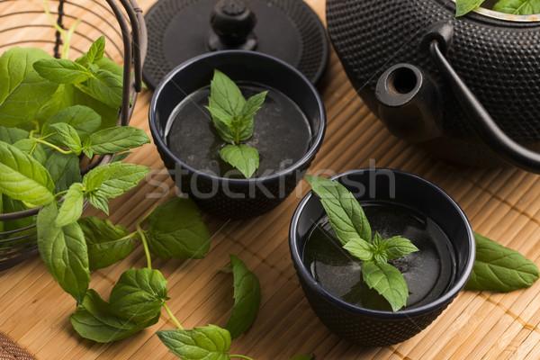 Mint Tee Natur Licht Glas grünen Stock foto © joannawnuk
