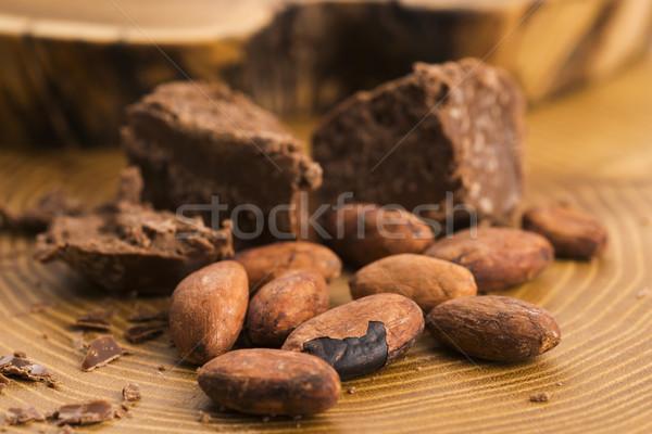 Gehakt chocolade cacao achtergrond bar eten Stockfoto © joannawnuk