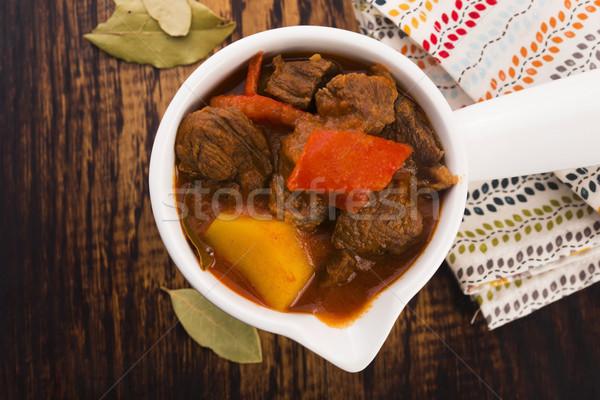 Marhapörkölt asztal hús paradicsom étel só Stock fotó © joannawnuk