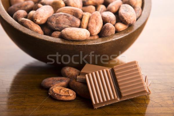 Cacao fagioli latte cioccolato gruppo bianco Foto d'archivio © joannawnuk