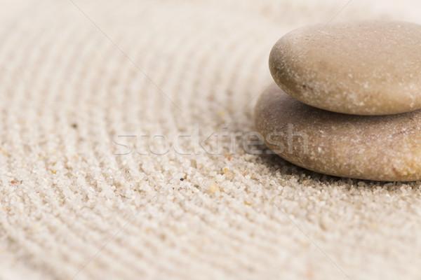 Foto stock: Mini · zen · jardín · resumen · arena · piedra