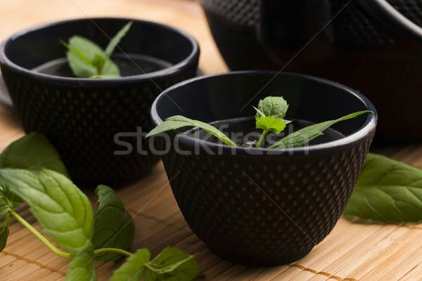 Menta tea fény üveg gyógyszer ital Stock fotó © joannawnuk