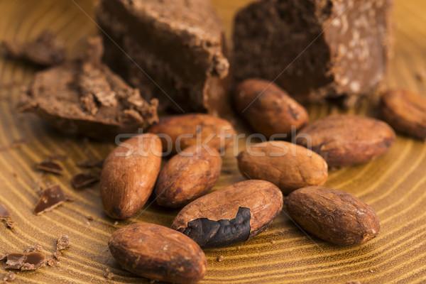 切り チョコレート カカオ 背景 バー 食べ ストックフォト © joannawnuk