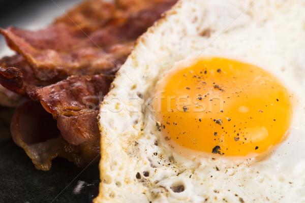 Tükörtojás szalonna étel tojás reggeli étel Stock fotó © joannawnuk