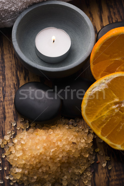 Narancs fürdősó gyümölcsök fa masszázs fürdő Stock fotó © joannawnuk