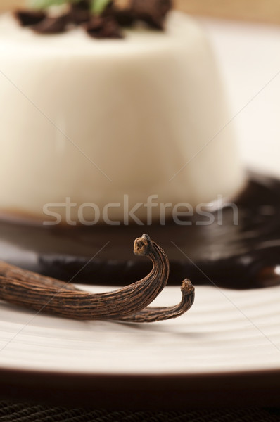 Stock photo: Panna Cotta with chocolate and vanilla beans
