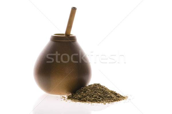 argentinian calabash with yerba mate isolated on white backgroun Stock photo © joannawnuk