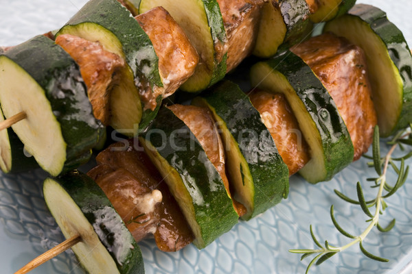 Salmon and courgette shashlik Stock photo © joannawnuk