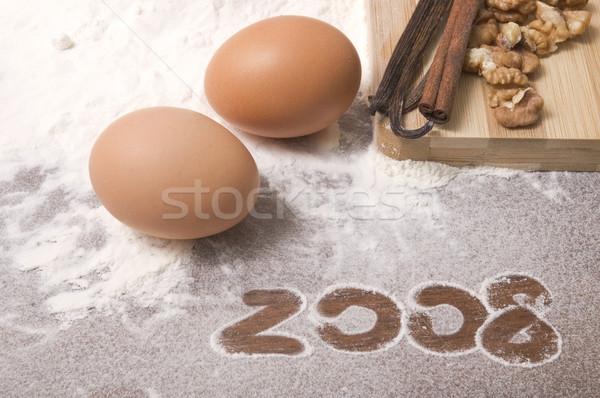Nowy rok przygotowanie składniki 2008 świetle Zdjęcia stock © joannawnuk