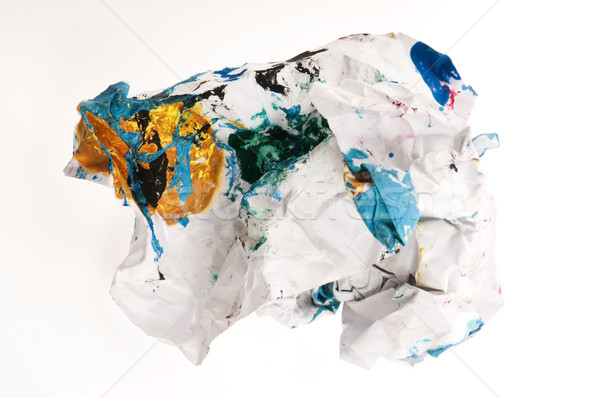 Crumpled paper isolated over white  Stock photo © joannawnuk