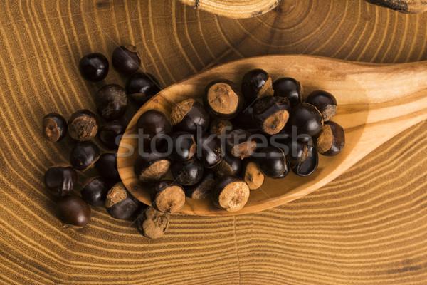 Nasion drewna kawy roślin orzechy przyprawy Zdjęcia stock © joannawnuk