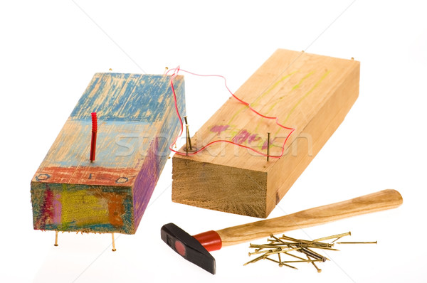 creative train. funny toys made from four years old girl. isolat Stock photo © joannawnuk