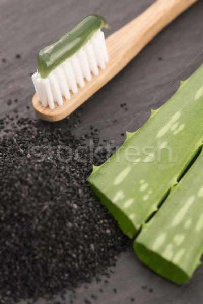 Tandenborstel tandpasta aloë achtergrond tandarts bamboe Stockfoto © joannawnuk