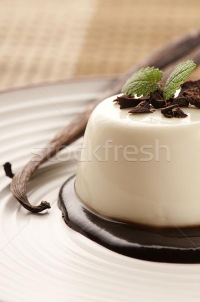 Panna Cotta with chocolate and vanilla beans Stock photo © joannawnuk